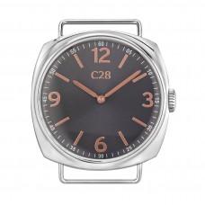 Orologio unisex con cassa in acciaio lucido da 38 mm, quadrante grigio metallizzato con numeri e indici ramati in rilievo