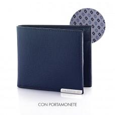 Portafoglio monete in pelle Ligni (Blu)