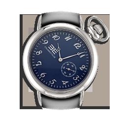 Orologio unisex con cassa in acciaio da 38 mm quadrante blu e numeri argento