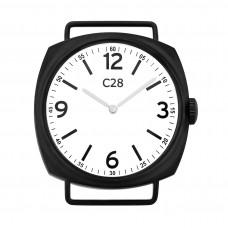 Orologio unisex con cassa nera opaca da 38 mm in acciaio, quadrante bianco