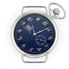Orologio da uomo, cassa di 42mm vetro minerale, quadrante blu metallizzato e numeri silver