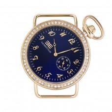 Orologio da donna con cassa tonda in acciaio e numeri dorati, 38 mm
